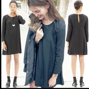 Sezane X Madewell Dress Asymmetrical Hem Black 2